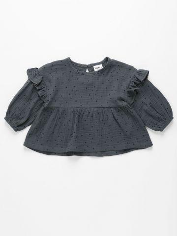 חולצת טטרה בהדפס נקודות עם מלמלה / 6M-4Y של TERMINAL X KIDS