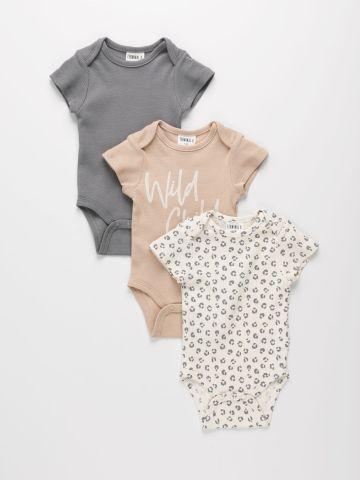 מארז 3 בגדי גוף ריב עם הדפסים שונים / 0M-2Y של TERMINAL X KIDS