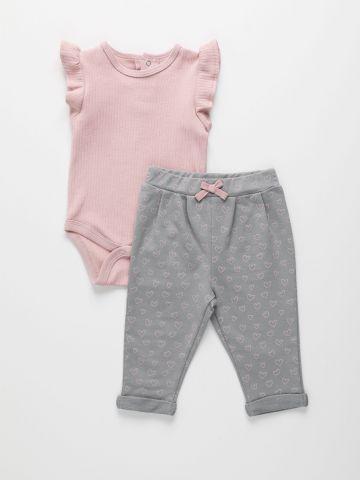 סט בגד גוף ומכנסיים בהדפס לבבות / 0M-24M של THE CHILDREN'S PLACE