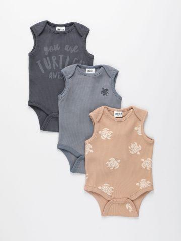 מארז 3 בגדי גוף וופל בצבעים שונים / 0-2Y של TERMINAL X KIDS