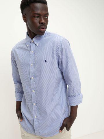 חולצה מכופתרת בהדפס פסים ולוגו של RALPH LAUREN