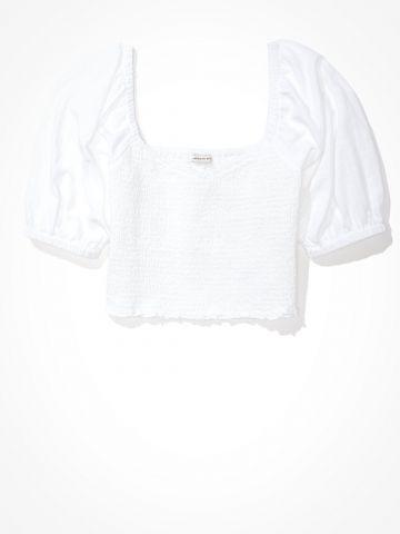 חולצת קרופ בשילוב כיווצים של AMERICAN EAGLE