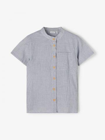 חולצה מכופתרת בהדפס משבצות עם כיס / 1.5Y-8Y של NAME IT