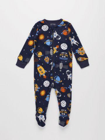 אוברול ארוך בהדפס חלל / 0M-9M של THE CHILDREN'S PLACE