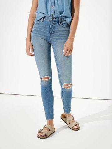 סקיני ג'ינס בשטיפה בהירה עם קרעים Jegging של AMERICAN EAGLE