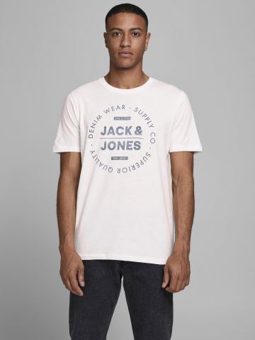 טי שירט עם הדפס לוגו של JACK AND JONES
