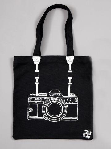 תיק יד קנבס עם הדפס מצלמה של FUNKY FISH