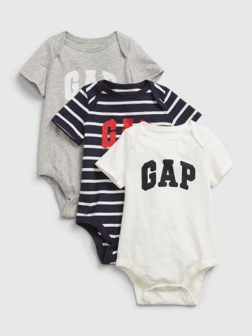 מארז 3 בגדי גוף עם הדפס לוגו / 0-2Y של GAP