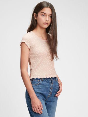 חולצה עם כיווצים בהדפס פרחים של GAP
