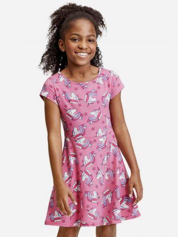 שמלת מתרחבת בהדפס חד קרן של THE CHILDREN'S PLACE
