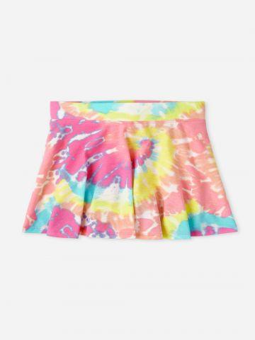 חצאית מתרחבת בהדפס טאי דאי / בנות של THE CHILDREN'S PLACE