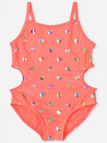 בגד ים שלם בהדפס לבבות / בנות של THE CHILDREN'S PLACE