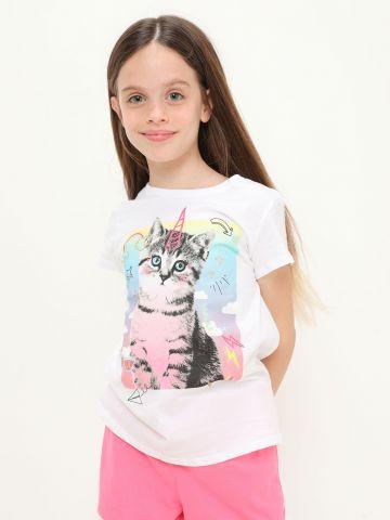 טי שירט עם הדפס חתול של THE CHILDREN'S PLACE