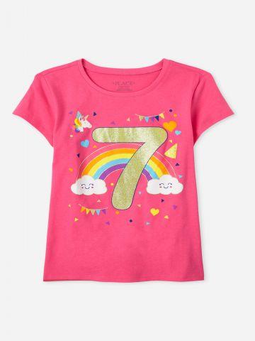 טי שירט עם הדפס יום הולדת 7 / בנות של THE CHILDREN'S PLACE