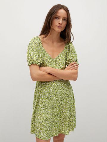 שמלה בהדפס פרחים עם שרוולים נפוחים של MANGO