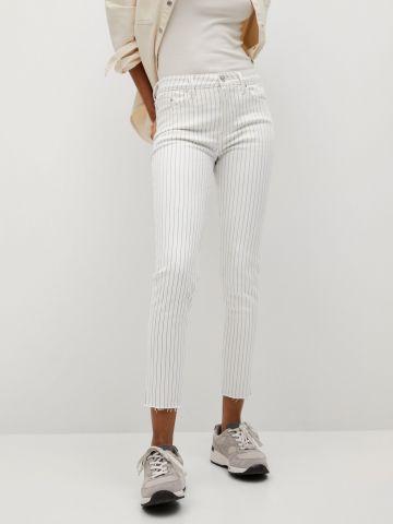 מכנס ג'ינס קרופ בהדפס פסים של MANGO