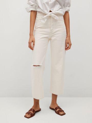 ג'ינס קרופ לבן בגזרה גבוהה של MANGO