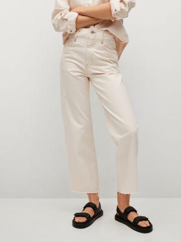 ג'ינס רחב קרופ עם תיפורים מודגשים של MANGO