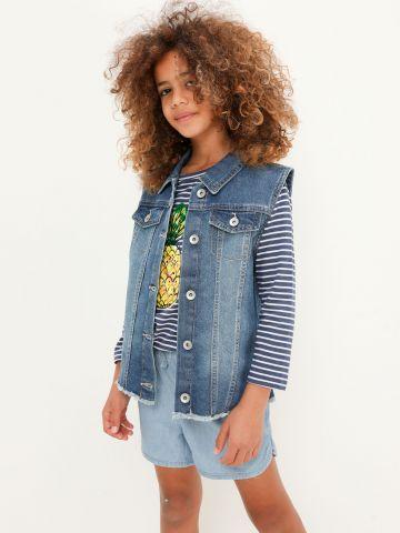 וסט ג'ינס עם סיומת פרומה של THE CHILDREN'S PLACE