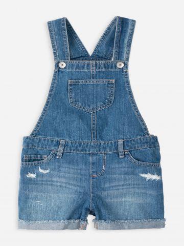 אוברול ג'ינס בסיומת קיפול / בנות של THE CHILDREN'S PLACE