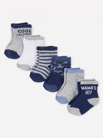 מארז 6 זוגות גרביים בהדפסים שונים / 0-18M של THE CHILDREN'S PLACE