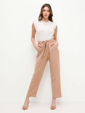 מכנסיים ארוכים מבד נשפך של YANGA