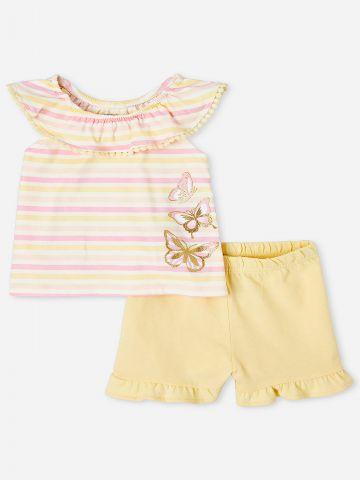 סט חולצה ומכנסיים קצרים בשילוב מלמלה / 9M-4Y של THE CHILDREN'S PLACE