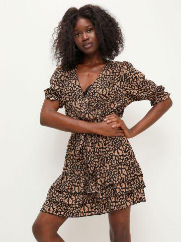 שמלת מעטפת פפלום בהדפס חברבורות של YANGA