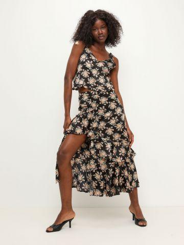 חצאית סאטן פפלום בהדפס פרחים של YANGA