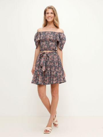 חצאית מיני קומות בהדפס פרחים של YANGA