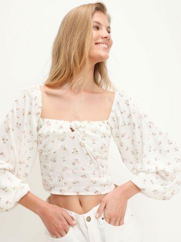 חולצת קרופ בהדפס פרחים עם שרוולים נפוחים של BILLABONG