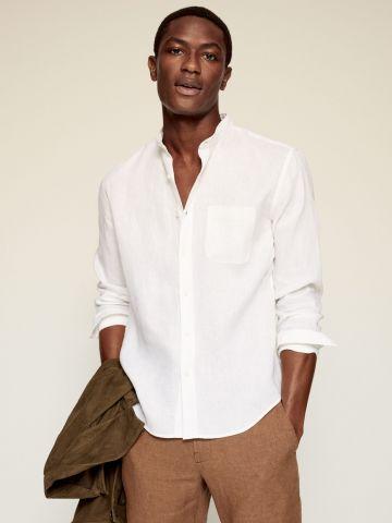 חולצת פשתן עם צווארון של MANGO