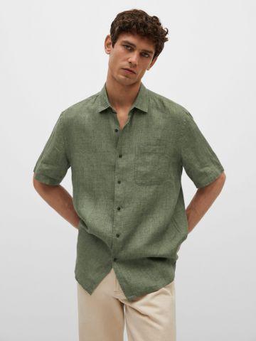 חולצת פשתן מכופתרת של MANGO