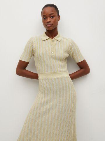 שמלת מידי בסגנון סרוג עם פסים של MANGO