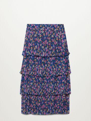חצאית מידי קומות בהדפס פרחים של MANGO