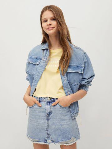 חצאית ג'ינס עם סיומת גזורה של MANGO