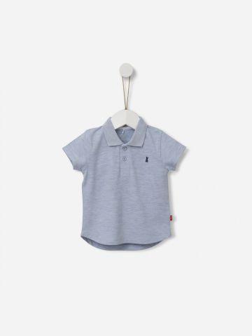חולצת פולו מלאנז' עם רקמת ארנב / 0M-5Y של SHILAV