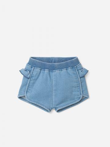 מכנסי ג'ינס קצרים עם עיטור מלמלה / 3M-5Y של SHILAV