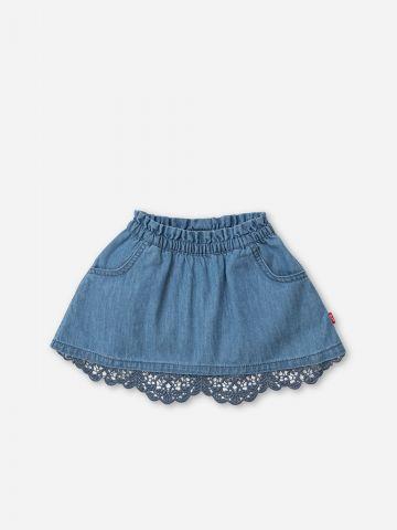חצאית ג'ינס עם עיטור תחרה / 0-5Y של SHILAV