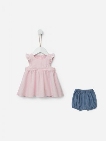 סט שמלה ומכנסי ג'ינס קצרים / 0-24M של SHILAV