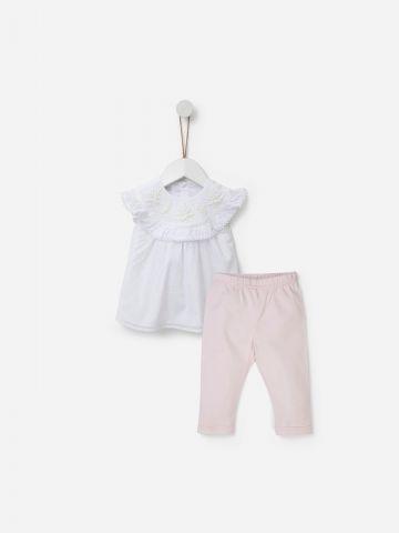 סט חולצת רקמה ומכנסיים ארוכים / 0M-24M של SHILAV