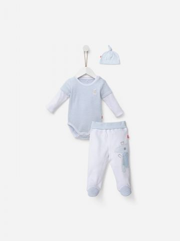 סט בגד גוף וופל, מכנסיים ארוכים וכובע / 0M-6M של SHILAV