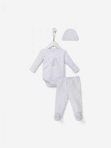 סט בגד גוף מעטפת, מכנסיים ארוכים וכובע / 0M-6M של SHILAV