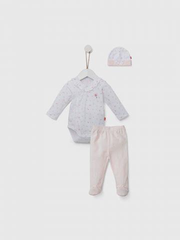 סט בגד גוף, מכנסיים ארוכים וכובע / 0M-6M של SHILAV