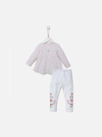 סט חולצה בטקסטורת פסים ומכנסי טייץ ארוכים / 0M-18M של SHILAV