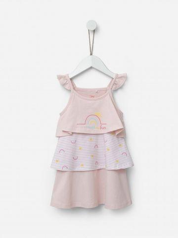 שמלת קומות עם הדפס קשת בענן / 2Y-5Y של SHILAV