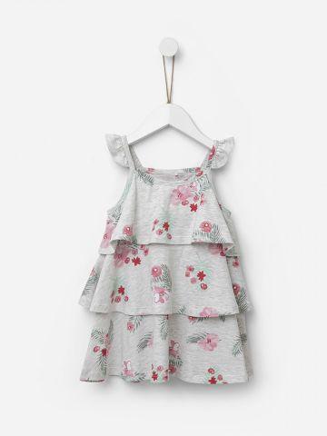 שמלת קומות מלאנז' בהדפס פרחים / 2Y-5Y של SHILAV