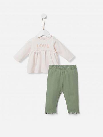 סט טי שירט ומכנסיים ארוכים עם הדפס / 0-24Y של SHILAV