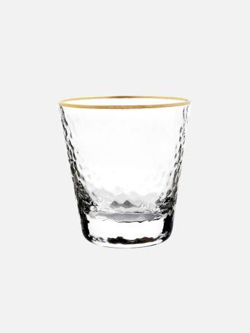 כוס זכוכית בטקסטורה עם שוליים מוזהבים של FOX HOME