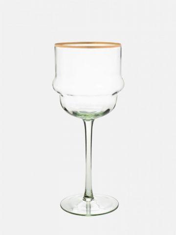 גביע יין עם שוליים מוזהבים של FOX HOME